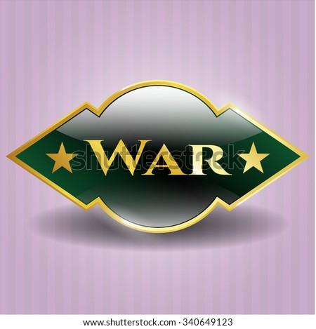 War gold badge - stock vector