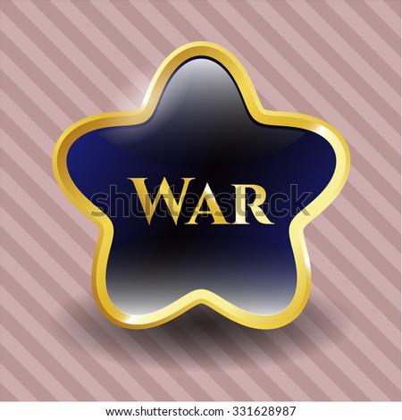 War golden emblem - stock vector
