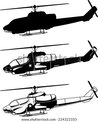 War military Helicopter Icons vector illustration. - stock vector