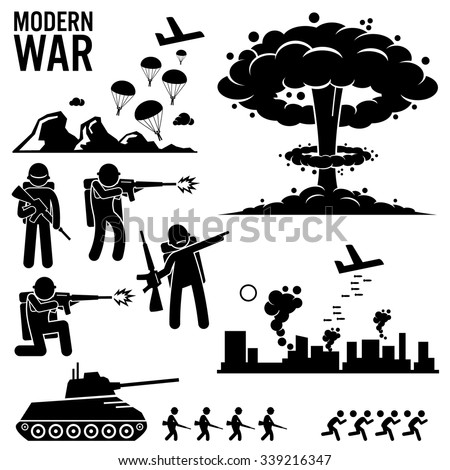War Modern Warfare Nuclear Bomb Soldier Tank Attack Stick Figure Pictogram Icons - stock vector