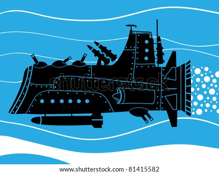 war submarine with missile and turrets - stock vector