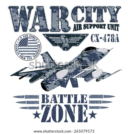 War theme vector graphics and typography t-shirt design for apparel. VARSITY. - stock vector