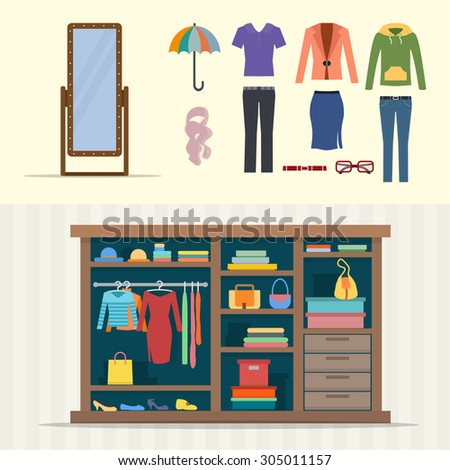 Wardrobe for clothes. Closet with clothes, bags, boxes and shoes. Mirror and cloths sets. Flat style vector illustration. - stock vector