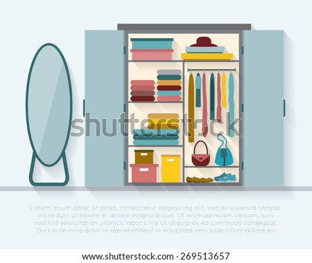 Wardrobe for cloths with mirror. Closet with clothes, bags, boxes and shoes. - stock vector