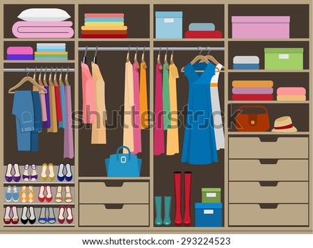 Wardrobe room full of woman's cloths. Flat style vector illustration. - stock vector