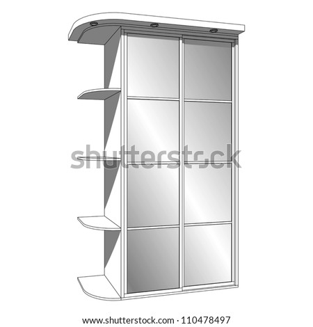 Wardrobe with sliding-door and recessed luminaires - stock vector