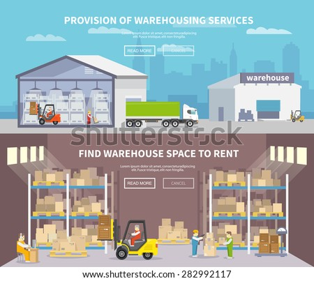 Warehouse banner set with shipping and delivery flat elements isolated vector illustration - stock vector