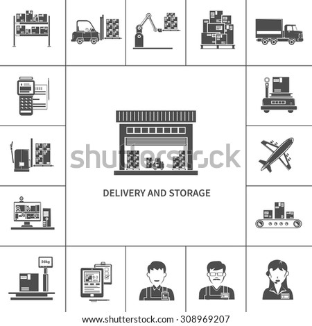 Warehouse delivery and storage icons black set isolated vector illustration - stock vector