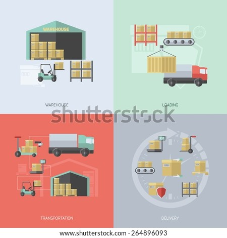 Warehouse design concept set with loading transportation and delivery flat icons isolated vector illustration - stock vector
