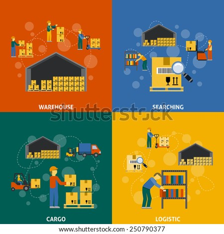Warehouse design concept set with searching cargo logistic flat icons isolated vector illustration - stock vector