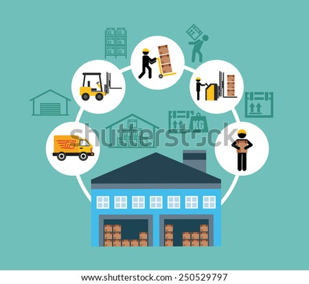 warehouse design, vector illustration eps10 graphic  - stock vector