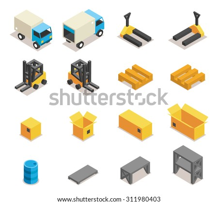 Warehouse equipment icon set. Transportation and forklift, cargo and box, logistic and delivery, vector illustration - stock vector