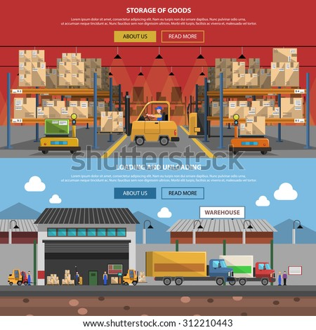 Warehouse horizontal banner set with flat goods storage elements isolated vector illustration - stock vector