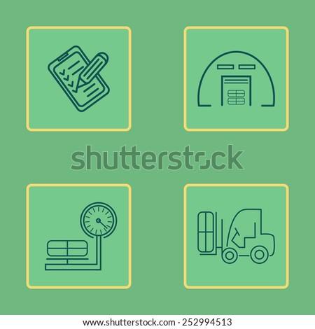 Warehouse icons flat line set. Vector illustration - stock vector