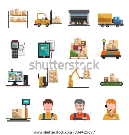 Warehouse icons flat set with shipping and delivery symbols isolated vector illustration - stock vector