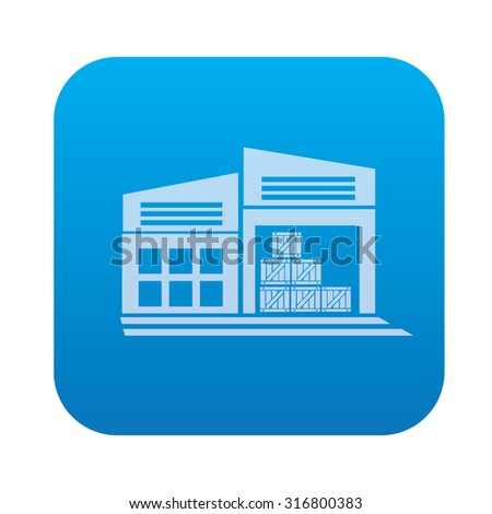 Warehouse,industry icon on blue background,clean vector - stock vector