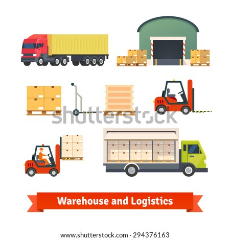 Warehouse inventory, logistics truck loading and goods delivery flat vector icon set. - stock vector