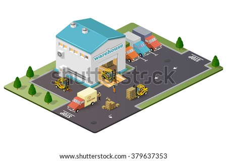 Warehouse vector illustration in the form of an isometric view - stock vector