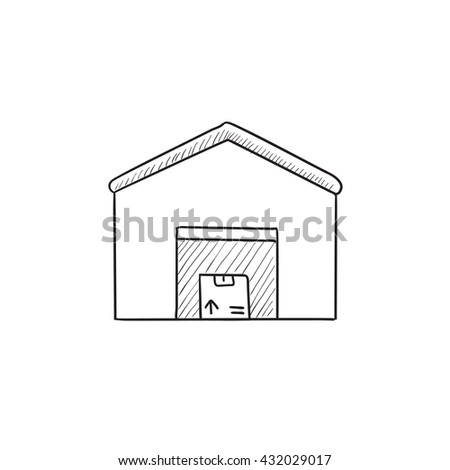 Warehouse vector sketch icon isolated on background. Hand drawn Warehouse icon. Warehouse sketch icon for infographic, website or app. - stock vector