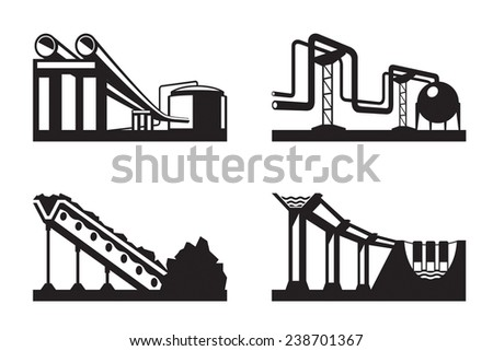 Warehouses for natural resources - vector illustration - stock vector