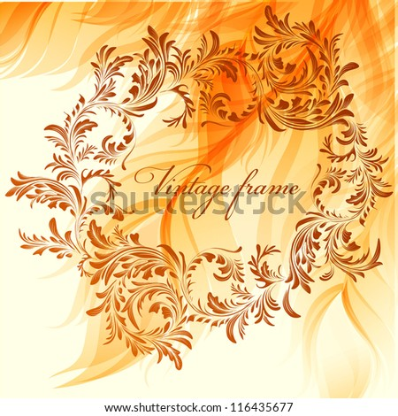 Warm abstract background with vintage frame - stock vector
