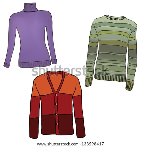 Warm clothes on white background. Set of sweaters winter clothing. Female jerseys vector collection. - stock vector