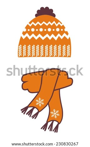 warm hat and scarf with an ornament, vector illustration - stock vector