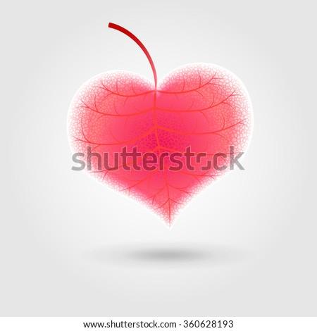 warm organic leaf in shape of heart  - stock vector
