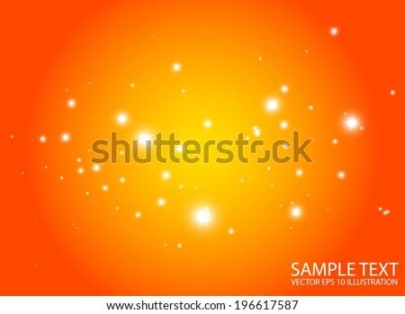 Warm space flares decorative template - Shiny orange glittering design background  illustration space - stock vector