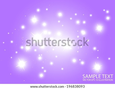 Warm space flares decorative template - Shiny purple  glittering design background  illustration - stock vector