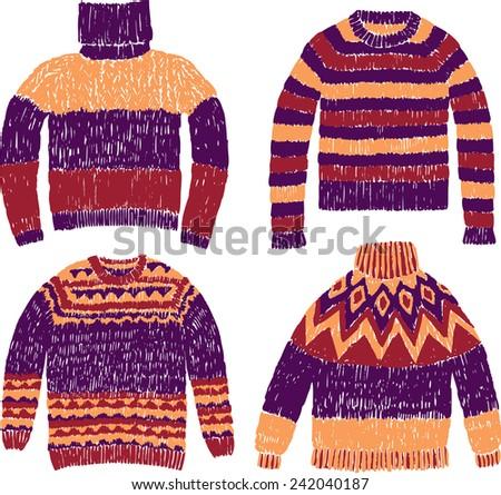 warm sweaters - stock vector