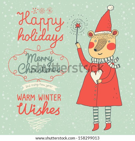 Warm winter wishes card in vector. Funny Merry Christmas background. Funny Bear in holiday concept wallpaper - stock vector
