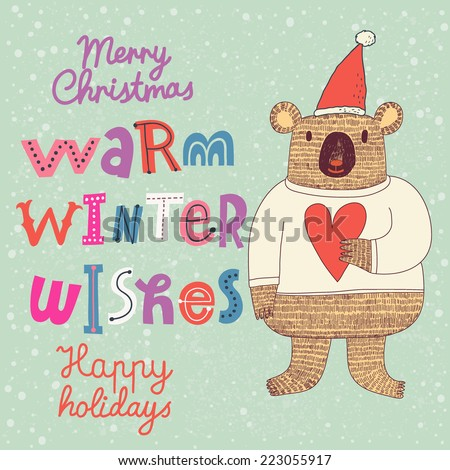 Warm winter wishes card in vector. Funny Merry Christmas background. Funny cartoon Koala in holiday concept wallpaper - stock vector