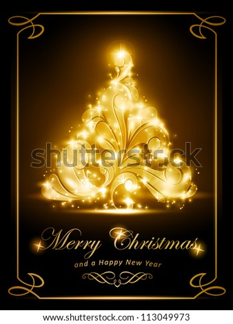 Warmly sparkling Christmas tree on dark brown background. Light effects give it a radiating glow. Perfect for the coming festive season. - stock vector