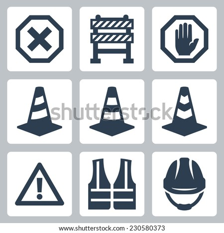 Warning and job safety related vector icons set - stock vector
