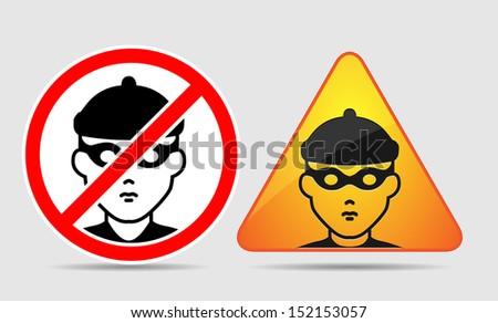 Warning - burglar, theft and bandit icon  - stock vector