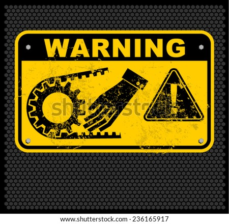 warning crushing hand  - stock vector