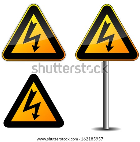 Warning electricity sign - stock vector