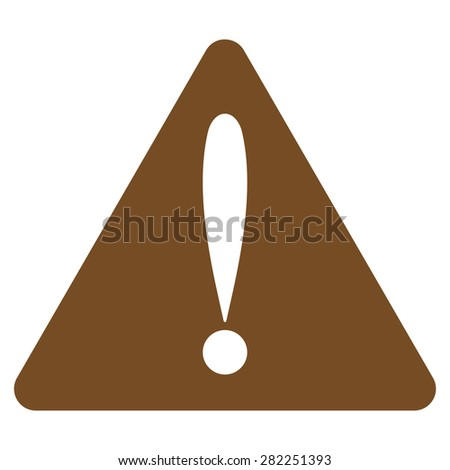 Warning error icon from Basic Plain Icon Set. Style: flat vector image, brown color, rounded angles, white background. - stock vector