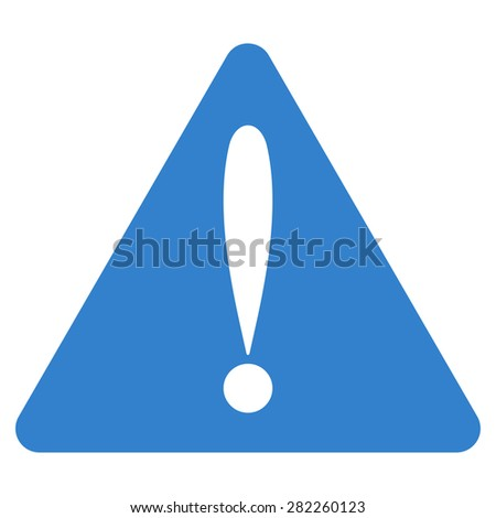 Warning error icon from Basic Plain Icon Set. Style: flat vector image, cobalt color, rounded angles, white background. - stock vector