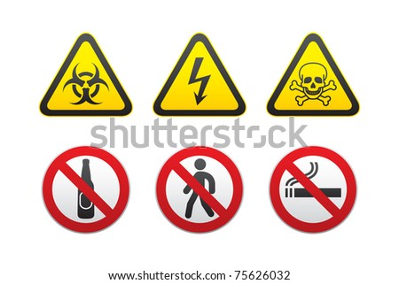 Warning Hazard and Prohibited Signs vector set - stock vector