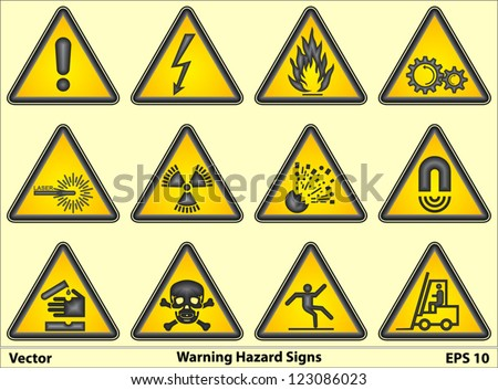 Warning Hazard Signs - stock vector