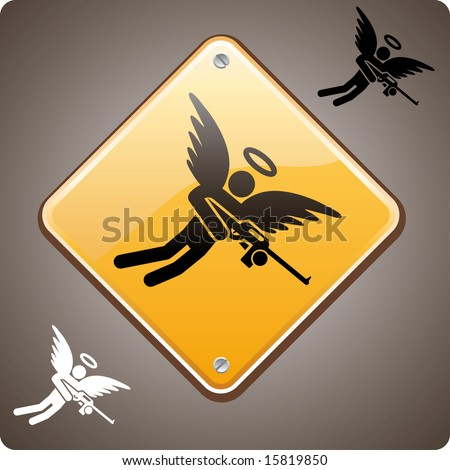 Warning! Mad Angel Ahead! Mad angel warning road sign. A love hurts or a religion power concept - stock vector