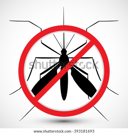 Warning, Prohibited sign with  mosquito with. Stop Zika Virus. Stop Malaria. Stop Dengue. Nature Aedes Aegypti.  Ideal for educational, informational, or related health advisory. Isolated vector - stock vector