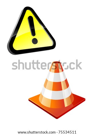 Warning sign and traffic cone isolated on white. Jpeg version also available in gallery - stock vector