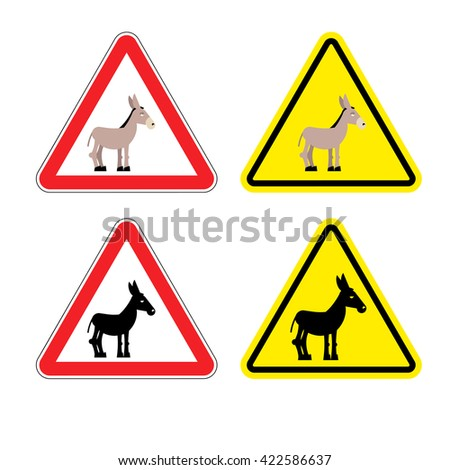 Warning sign attention donkey. Dangers yellow sign stupid man. Ass on red triangle. Set of road signs against idiocy. fool on road Warning - stock vector