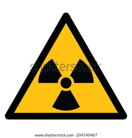 Warning sign, BEWARE RADIATION - stock vector