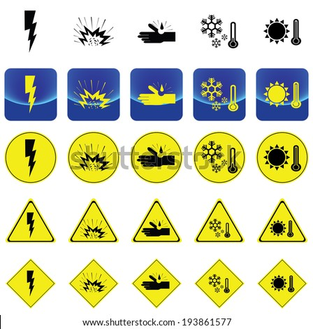 Warning sign for electricity shock, explosive, corrosion, cold, heat vector on button and many types of yellow circle, triangles and square sign - stock vector
