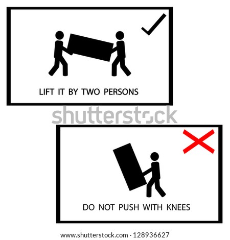 warning sign on the box, lift it by 2 persons ,vector - stock vector