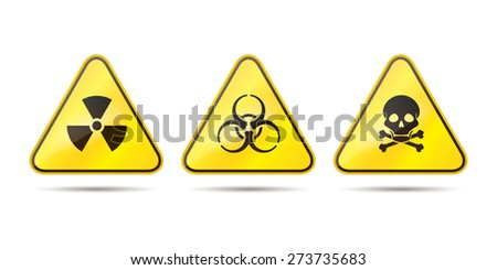 Warning signs for toxic, radioactive and biohazard vector illustration - stock vector